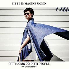 Blogger YiYun Mao in Yojiro Kake origami cape and shirt during Pitti Uomo 90, on Pitti Immagine website Pitti People