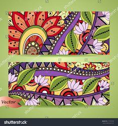 Vector Set of Floral Banner. Mandala Painting, Mandala Art, Abstract Drawings, Art Drawings, Acrylic Painting Inspiration, Chakra Art, Floral Banners, Truck Art, Bible Art