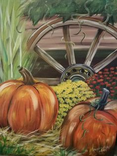 Fall acrylic painting 🌠, Brushes with Faith, pumpkins, mums, wagon wheel Fall Canvas Painting, Autumn Painting, Acrylic Canvas, Autumn Art, Diy Painting, Canvas Art, Fall Paintings, Pumpkin Painting, Canvas Paintings