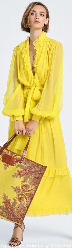 Etro Resort 2021 Lookbook - Silk Ruffled Midi Dress #resort2021 #cruise2021 #r21 #womenswear #keanetro Mundo Fashion, Mellow Yellow, Bright Yellow, Yellow Fashion, Fashion Outfits, Womens Fashion, Petite Fashion, Yellow Dress, Fashion 2020