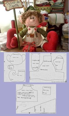 Powered by APG vNext Trial - duende navidad ,de la webPattern for cloth elf doll (in Hungarian, but you can easily figure it out).Things to make :) elf Ragdoll pattern free /Christmas decorated with felt padslike his tool apron Christmas Projects, Felt Crafts, Holiday Crafts, Christmas Sewing, Felt Christmas, Christmas Ornaments, Christmas Elf Doll, 242, Theme Noel