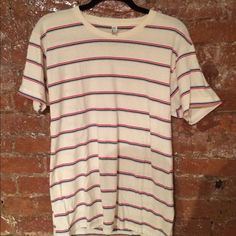 American Apparel Cream Red White Striped TShirt Unisex Small never worn tshirt, red white and cream stripes  American Apparel Tops