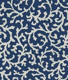 Waverly Coral Cascade Sun N Shade Navy Fabric