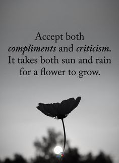 Accept both Compliments and Criticism. It takes both sun and rain for a flower to grow. quotes quotes about life quotes about love quotes for teens quotes for work quotes god quotes motivation Quotable Quotes, True Quotes, Great Quotes, Wisdom Quotes, Quotes Quotes, Fact Quotes, Quotes On Sun, Quotes On Life Changes, Happy Quotes For Girls