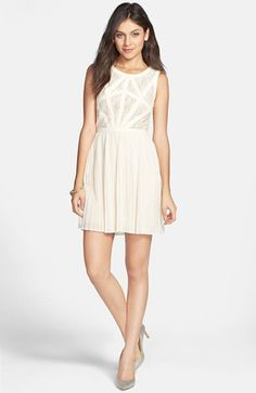 En Crème Lace Bodice Pleated Skater Dress (Juniors) (Online Only) available at #Nordstrom