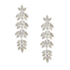 Pavé Crystal Leaves on a Vine Drop Earrings