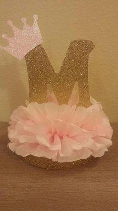 Princess or Prince Initial Tiara Glitter Centerpiece Pink Gold