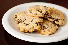 Candice's low carb chocolate chip cookies: butter, splenda, eggs, vanilla, coconut flour, almond meal, baking soda, salt, 85% Lindt bar