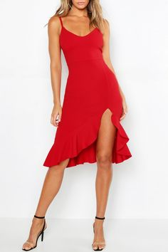 Strappy Frill Hem Midi Dress | boohoo Cute Red Dresses, Sexy Dresses, Casual Dresses, Skater Dresses, Salsa Outfit, Salsa Dress, Ganesh, Chic Outfits, Fashion Outfits