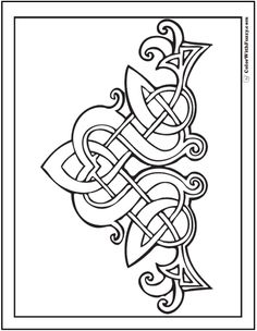 Embroidery Pattern Fuzzy's Celtic Designs: Patrick Celtic Coloring - Fuzzy has scores of Irish and Scottish Celtic coloring pages with Celtic knot designs - the coolest tangles. Colouring Pages, Adult Coloring Pages, Coloring Books, Mandala Coloring, Coloring Sheets, Celtic Symbols, Celtic Art, Celtic Dragon, Celtic Knots