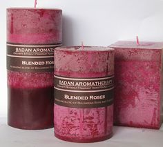 Rose & Tuberose Pillar Candle 3x6 Tall Deep Red by Badanbody, $18.00