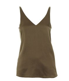 The must-have cami for the new season in on-trend Khaki is made from hammered silk. The cami has a feminine V neck and slim straps. With its minimal detailing and relaxed fit through body, easily pair with neutral separates for an effortless look. Cami Tops, Basic Tank Top, Feminine, V Neck, Chic, My Style, Shopping, Detail, Women