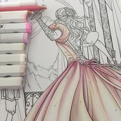Finally starting on the Acotar picture Would you like me to start listening the colors and materials I'm using? #adultcoloringbook #copics #coloring #blickartmaterials #coloringbook #acowar #acotar