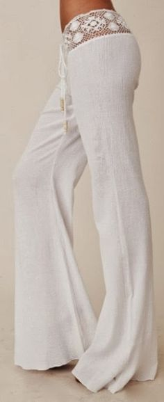 Gorgeous crochet detail white pant fashion Looks comfy. find more women fashion on http://www.misspool.com