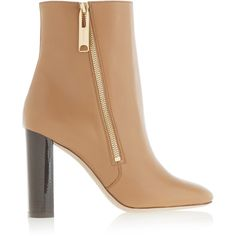 Burberry London London leather ankle boots (18,550 PHP) ❤ liked on Polyvore featuring shoes, boots, ankle booties, camel, camel booties, short boots, leather ankle booties, high heel bootie and zip ankle boots