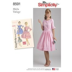 Simplicity Pattern 8591 Misses' and Petites' Vintage Dress