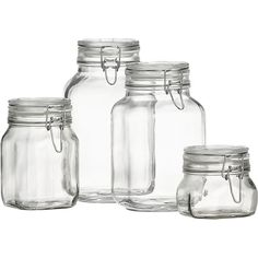 Stylish Italian storage jars with large openings for easy access. Lids clamp down on foods with vulcanized rubber gaskets for an airtight seal.