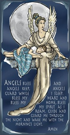 Guardian Angel for Sleep Evening or Nighttime Prayer by ModHMary, $1.75