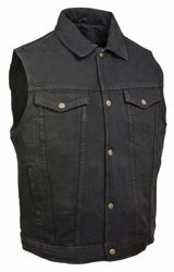 8deac0e814 Men s black denim motorcycle vest with collar and gun pockets http   www.