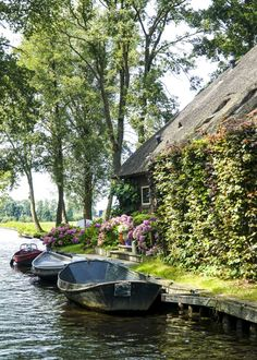 Giethoorn: a magical town in the Netherlands Photos Voyages, Beautiful Places To Travel, Beautiful Gardens, Netherlands, Countryside, The Good Place, Garden Cottage, Fairytale Cottage, Parks