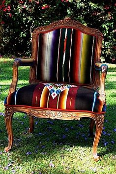 A vintage fabric on contrasting style chair is so unexpected! |  Beautiful chair by TOTEM SALVAGED www.totemsalvaged.com #fabrics #chair #interior