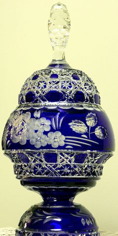 Large Bohemian Glass Compote    This is from late 19th century