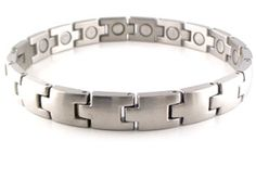 "This is a matte silver solid stainless steel magnetic bracelet that many people enjoy. This magnet bracelet is medium width at about 1/3"" wide and has a large 3300 gauss neodymium rare earth north facing magnet in each link."