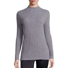 Lafayette 148 New York Women's Cozy Wool Flannel Rib-Knit Turtleneck... (£100) ❤ liked on Polyvore featuring tops, sweaters, apparel & accessories, nickel, wool turtleneck, turtle neck sweater, long sleeve tops, wool pullover sweater and flannel sweater