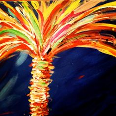 Funky Palm Tree by BeckysWhimsicalArt on Etsy, $80.00 Tree Paintings, Workshop Ideas, Palms, Palm Trees, Original Artwork, My Arts, Tropical, Inspirational, Illustrations