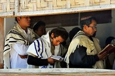 Members of the 'Bnei Menashe' Jewish community at the Beith Shalom Synagogue in Churachandpur, in the northeastern Indian state of Manipur, India.