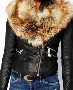 Zipper motorcycle long sleeve faux fur collar, solid black leather jacket...