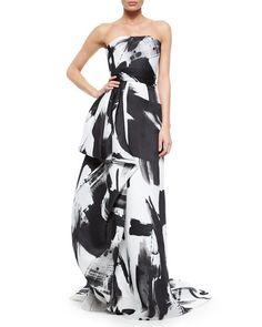 Rubin Singer Strapless Haiku Brushstroke Hand-Draped Gown, Black/White