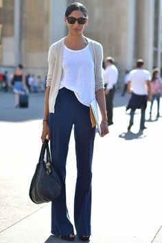 White t-shirt (half tucked in), taupe cardigan, navy linen wide-leg trousers, black platform heels