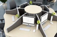 Workstation providing seating for six, though with limited space for students to spread their work.
