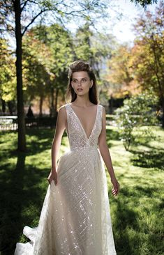 Berta bridal spring / summer 2016 - Love4Wed Stunning Berta wedding dress featuring a full skirt, all silver payette beaded with payette appliques in the top, V neckline and open back.