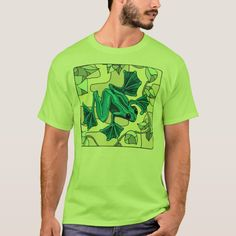 Mosaic Frog Design on Green Tee