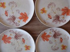 Melmac Plates/Set of Plates/Glamping/Leaves/Camping/Dishes/Vintage/Melmac/1970's/Plates/Dinner Plates/Plastic
