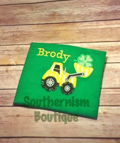 St Patricks Day Shirt! Boys St Patricks Day Shirt, Monogram St Pattys Day Shirt, Personalized St Patricks Day Shirt, construction shirt by Southernismboutique on Etsy https://www.etsy.com/listing/267156468/st-patricks-day-shirt-boys-st-patricks