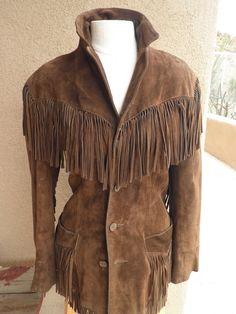 Rare vintage Ralph Lauren brown suede fringe suede leather jacket..