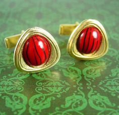 Red Lady Bug Cufflinks Striped Vintage Gold by NeatstuffAntiques