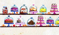 sweets - recipe book on Behance Sweets Recipes, Pantone, Illustration Art, Behance, Fine Art, Canvas, Gallery, Books, Ideas