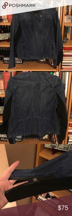 "Elegant denim jacket Classy denim jacket with partly spandex sleeves with zipper wrists. Pretty detailing on back. Heavy denim. Never worn. Dark wash. Hits at waist - 22"" long. Blank NYC Jackets & Coats Jean Jackets"