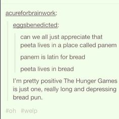 Hunger games bread puns for Peeta. Hunger Games Memes, Hunger Games Fandom, Hunger Games Catching Fire, Hunger Games Trilogy, The Hunger Games, Hunger Games Summary, Look Here, Look At You, Percy Jackson