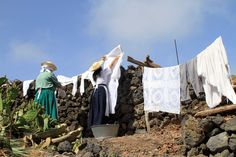 Women tending the laundry on #GuiadeIsora #Tenerife during the 'Day of Traditions'