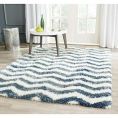 $436 Safavieh Montreal Shag Ivory/Blue 8 ft. x 10 ft. Area Rug-SGM846A-8 - The Home Depot