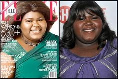"""Gabourey Sidibe on Elle 2010. Even when the women are being recognized for something other than their beauty, like, say, an Oscar nomination for incredibly talented actress Gabourey Sidibe of """"Precious,"""" magazines like Elle still feel the need to whitewash her in order to feature her image on the cover. Read for more on the insidious trend of beauty whitewashing: http://www.beautyredefined.net/beauty-whitewashed-how-white-ideals-exclude-women-of-color/"""