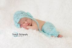 Crochet newborn mohair lace pants and bonnet by FreshOffTheeHook, $30.00