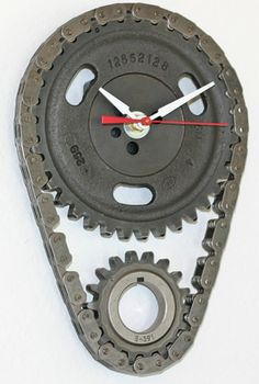 Chevy Engine Timing Chain and Gear Wall Clock, 10:10. Timing chains as curtains