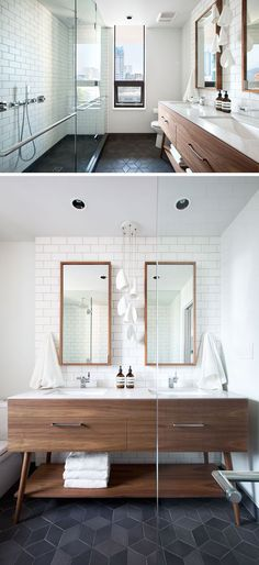 In this modern bathroom, a large glass enclosed shower takes up one wall, while a wood vanity with dual sinks and a white counter is featured on the opposite wall. White subway tiles have been used for the walls, and dark grey, geometric tiles have been used for flooring.