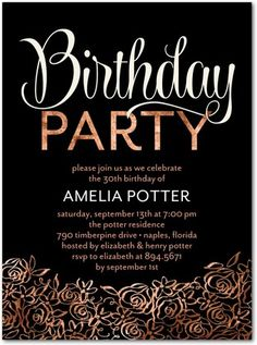 Golden Blossoms - Adult Birthday Party Invitations - Sarah Hawkins Designs - Creamsicle - Orange #Birthday